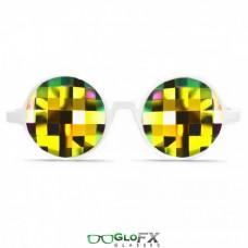 White frame bug eye rainbow lenses